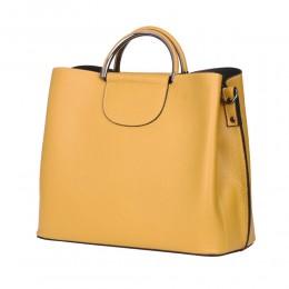 Кожена чанта с три отделения Carina, жълта
