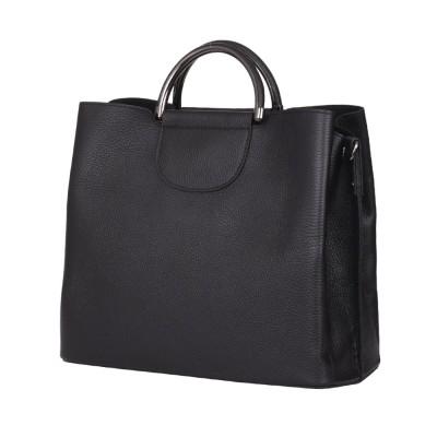 Кожена чанта с три отделения Carina, черна