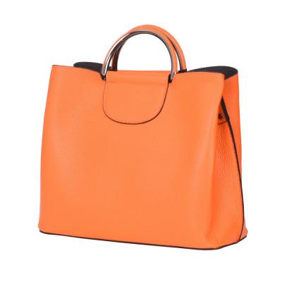 Кожена чанта с три отделения Carina, оранжева
