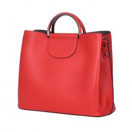 Кожена чанта с три отделения Carina, червена