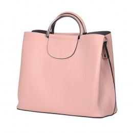Кожена чанта с три отделения Carina, розова