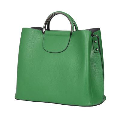 Кожена чанта с три отделения Carina, зелена