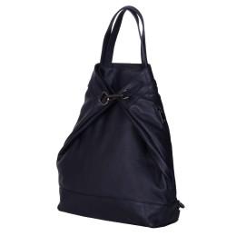 Раница и чанта от естествена кожа 2-в-1 Ingrid, тъмносиня