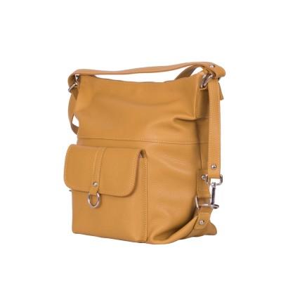 Кожена чанта тип раница Monty, жълта