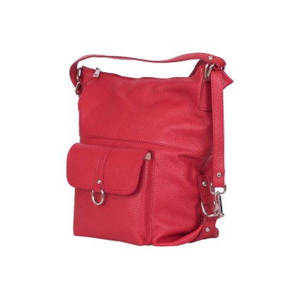 Кожена чанта тип раница Monty, червена