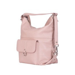 Кожена чанта тип раница Monty, розова