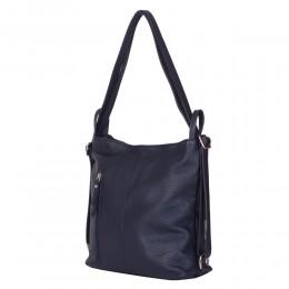 Чанта-раница 2-в-1 от естествена кожа Alesandra, тъмносиня