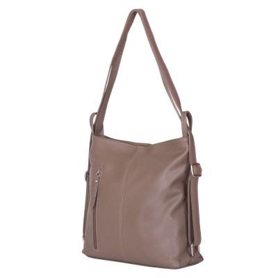 Чанта-раница 2-в-1 от естествена кожа Alesandra, kaki