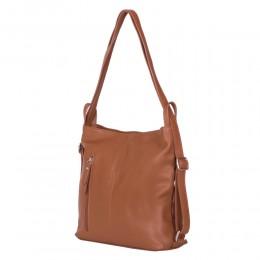Чанта-раница 2-в-1 от естествена кожа Alesandra, кафява