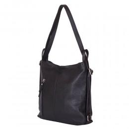 Чанта-раница 2-в-1 от естествена кожа Alesandra, черна