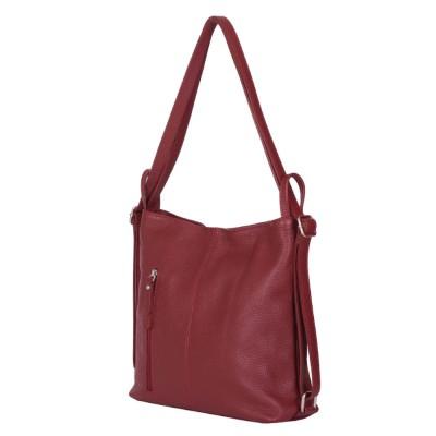 Чанта-раница 2-в-1 от естествена кожа Alesandra, тъмночервена