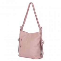 Чанта-раница 2-в-1 от естествена кожа Alesandra, розова