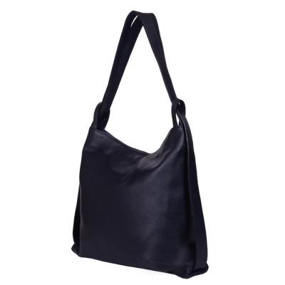 Чанта и раница от естествена кожа 2-в-1 Alda тъмносиня
