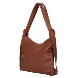 Чанта и раница от естествена кожа 2-в-1 Alda коняк