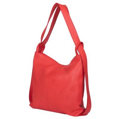 Чанта и раница от естествена кожа 2-в-1 Alda корал