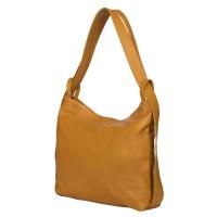Чанта и раница от естествена кожа 2-в-1 Alda жълта