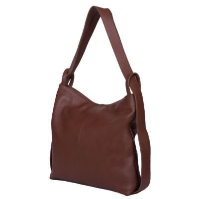 Чанта и раница от естествена кожа 2-в-1 Alda кафява