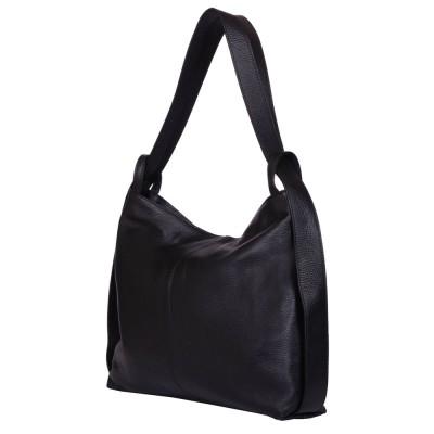 Чанта и раница от естествена кожа 2-в-1 Alda черна
