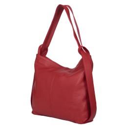 Чанта и раница от естествена кожа 2-в-1 Alda червена