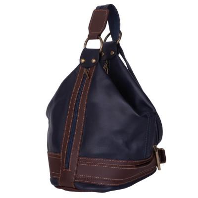Чанта и раница от естествена кожа 2-в-1 Sonia, тъмносиня