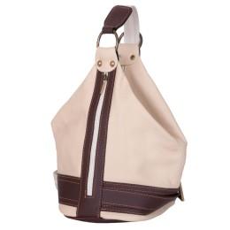 Чанта и раница от естествена кожа 2-в-1 Sonia, кремава