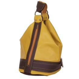 Чанта и раница от естествена кожа 2-в-1 Sonia, тъмножълта