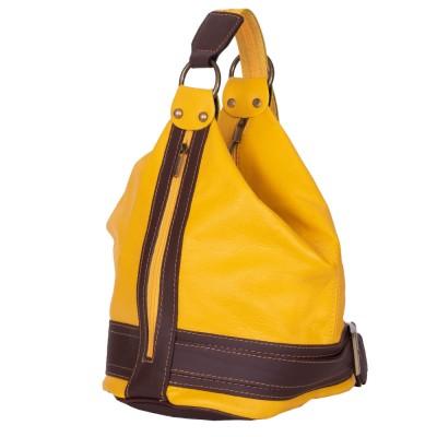 Чанта и раница от естествена кожа 2-в-1 Sonia, жълта