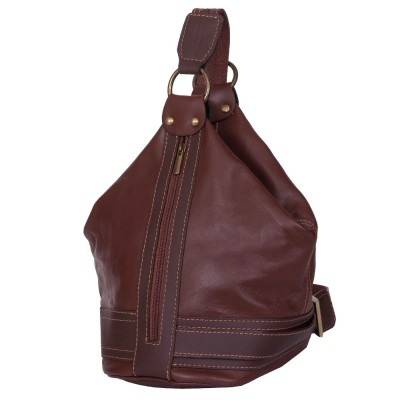 Чанта и раница от естествена кожа 2-в-1 Sonia, кафява