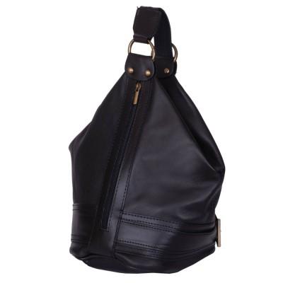 Чанта и раница от естествена кожа 2-в-1 Sonia, черна