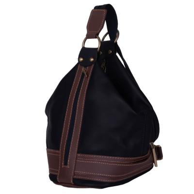 Чанта и раница от естествена кожа 2-в-1 Sonia, черна/кафява