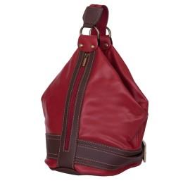 Чанта и раница от естествена кожа 2-в-1 Sonia, червена