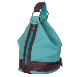Чанта и раница от естествена кожа 2-в-1 Sonia, тюркоаз