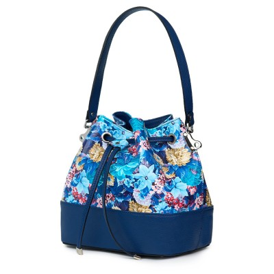 Чанта от естествена кожа с флорални мотиви Sophia FF2, синя