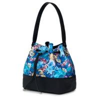 Чанта от естествена кожа с флорални мотиви Sophia FF2, черна