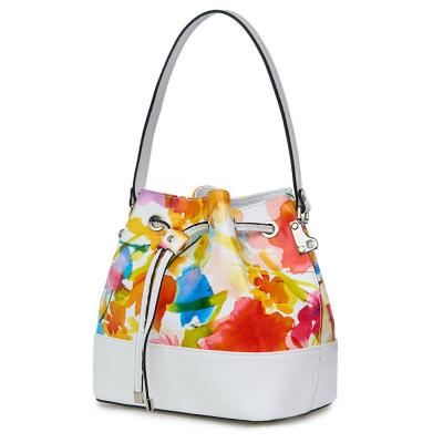 Чанта от естествена кожа с флорални мотиви Sophia FF3, бяла
