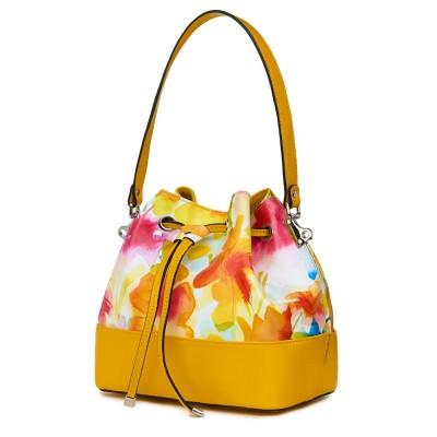 Чанта от естествена кожа с флорални мотиви Sophia FF3, жълта