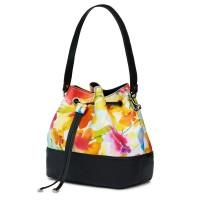 Чанта от естествена кожа с флорални мотиви Sophia FF3, черна