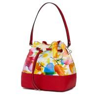Чанта от естествена кожа с флорални мотиви Sophia FF3, червена