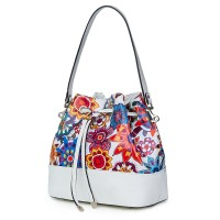 Чанта от естествена кожа с флорални мотиви Sophia FF5, бяла