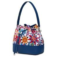 Чанта от естествена кожа с флорални мотиви Sophia FF5, синя