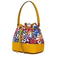 Чанта от естествена кожа с флорални мотиви Sophia FF5, жълта