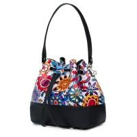 Чанта от естествена кожа с флорални мотиви Sophia FF5, черна
