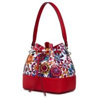Чанта от естествена кожа с флорални мотиви Sophia FF5, червена