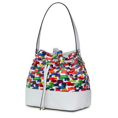 Чанта от естествена кожа с многоцветен мотиви Sophia, бяла