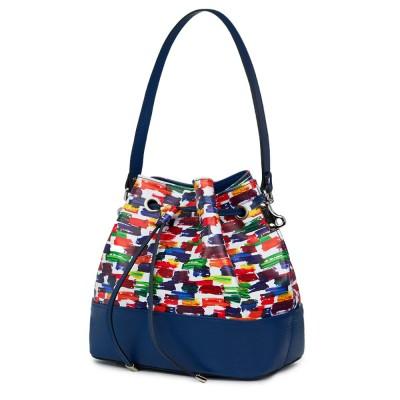 Чанта от естествена кожа с многоцветен мотиви Sophia, синя