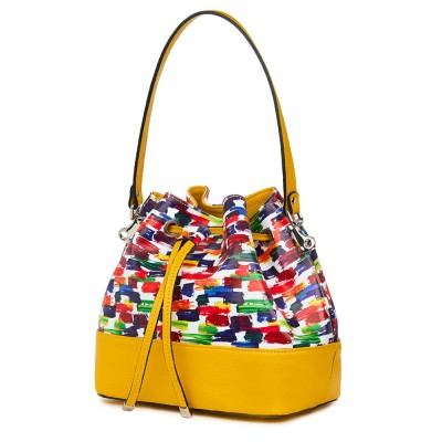 Чанта от естествена кожа с многоцветен мотиви Sophia, жълта