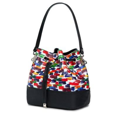 Чанта от естествена кожа с многоцветен мотиви Sophia, черна