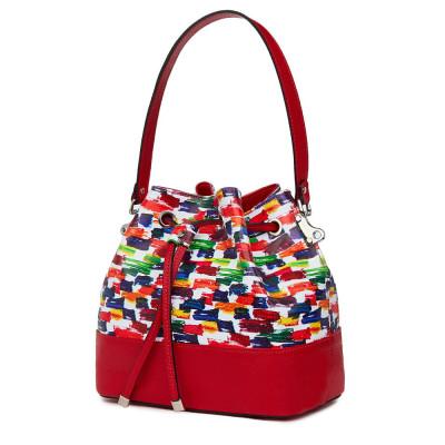 Чанта от естествена кожа с многоцветен мотиви Sophia, червена