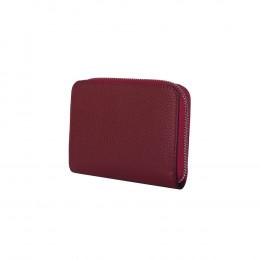 Дамски портфейл от естествена кожа Enrico, тъмночервен