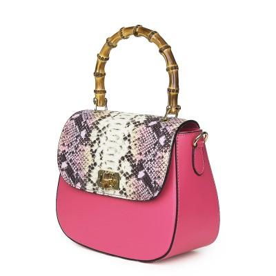 Кожена чанта тип портмоне Ariana, фуксия